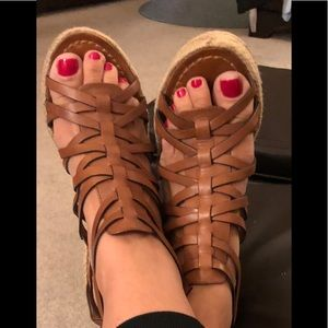 Brown leather strappy wedges